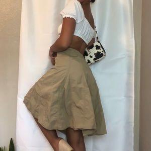 GAP 90's Vintage Pleated Brown Cargo Midi Skirt